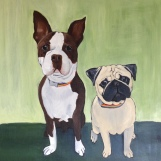 Coastas and Barny, 2014 .Oil on Canvas, 20x20 in. Commission.