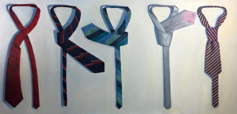 How to Tie a Tie, 2015. Oil on Canvas, 24x48 inches. Unavailable.