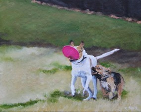 Frisbee Envy, 2016. Oil on Canvas, 8x10 inches. Available.