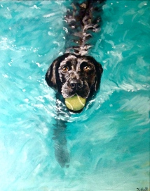 Bailey Swimming, 2013. Oil on Canvas, 16x20 in. Private Collection.