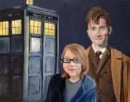 The Doctor and His New Companion, 2013. Oil on Canvas, 8x10 inches. Commission.